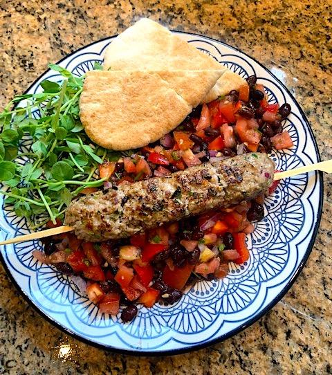 Lamb Kofta with Black Bean Salsa